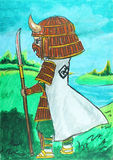 Desenho branco do samurai, ninja ilustração do vetor
