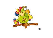 Desenho cômico do pássaro tropical inteligente feliz colorido da dança do papagaio Imagem de Stock