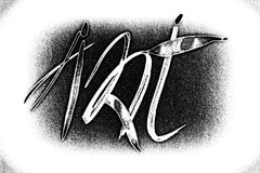 Desenho, caligrafia nas imagens das pessoas pequenas Fotos de Stock Royalty Free