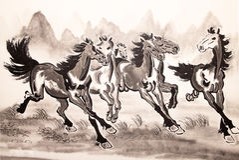 Desenho chinês do cavalo da tinta Foto de Stock Royalty Free