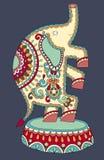 Desenho colorido étnico do tema do circo - elefante Imagem de Stock