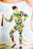 Desenho colorido com as canetas com ponta de feltro que descrevem o arlequim ilustração stock