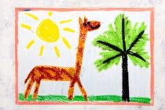 Desenho colorido da mão: girafa com pescoço longo foto de stock