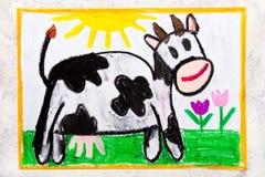 Desenho colorido da mão: vaca de sorriso ilustração royalty free