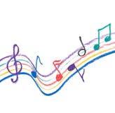 Desenho colorido da notação de música no branco foto de stock royalty free