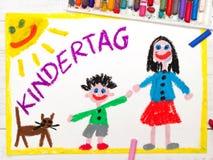 Desenho colorido: Dia alemão do ` s das crianças Imagem de Stock Royalty Free