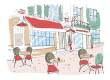 Desenho colorido do café, do café ou do restaurante do passeio do verão com as tabelas e as cadeiras que estão na rua da cidade a ilustração stock