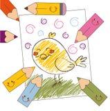 Desenho colorido do pássaro Foto de Stock