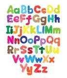 Desenho colorido garatuja da mão das crianças do alfabeto Fotos de Stock Royalty Free