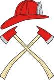 Desenho cruzado capacete do machado do fogo do bombeiro ilustração royalty free