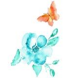Desenho da aquarela da borboleta e da flor Vetor Fotos de Stock