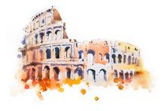 Desenho da aquarela do coliseu em Roma Sightseeing italiano tirado mão Fotos de Stock
