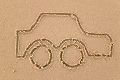 Desenho da areia do carro Foto de Stock