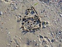 Desenho da casa na areia 1 Imagem de Stock Royalty Free