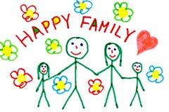 Desenho da cor da família feliz Fotografia de Stock