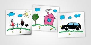 Desenho da criança da família feliz Fotos de Stock Royalty Free