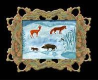 Desenho da criança de animais selvagens. Foto de Stock Royalty Free