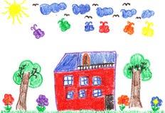 Desenho da criança de uma casa Fotografia de Stock Royalty Free