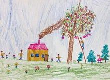 Desenho da criança de uma família feliz Imagens de Stock