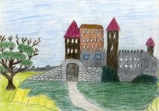 Desenho da criança do castelo. ilustração royalty free