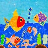 Desenho da criança do mundo do mar Imagens de Stock Royalty Free