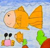 Desenho da criança do mundo do mar Fotografia de Stock Royalty Free