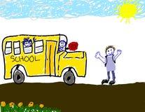Desenho da criança do passeio do barramento à escola ilustração stock