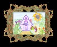 Desenho da criança em casa. Fotos de Stock Royalty Free