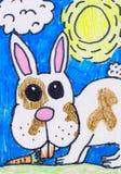 Desenho da criança s Coelho com uma cenoura ilustração royalty free