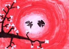 Desenho da criança s Sakura Um ramo das flores de cerejeira com os pássaros no por do sol ilustração royalty free