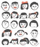 Desenho da criança, vetor bonito feliz do grupo do retrato das crianças ilustração stock