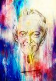 Desenho da escultura do voltaire do filósofo no fundo abstrato ilustração stock