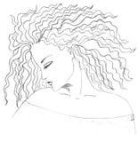 Desenho da face e do cabelo do `s da menina Fotos de Stock