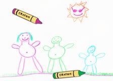 Desenho da família da criança Imagem de Stock