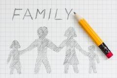 Desenho da família feliz Fotos de Stock Royalty Free