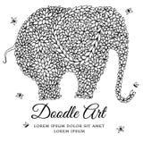 Desenho da garatuja do elefante do zentangl da ilustração do vetor Exercícios meditativos Anti esforço do livro para colorir para Imagem de Stock