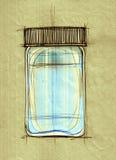 Desenho da garrafa de vidro Fotografia de Stock