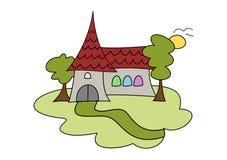 Desenho da igreja do Doodle Fotos de Stock Royalty Free