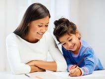 Desenho da mãe e da filha Fotografia de Stock Royalty Free