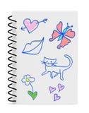 Desenho da mão das meninas durante a classe Imagem de Stock Royalty Free