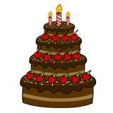 Desenho da mão do bolo dos desenhos animados Imagens de Stock Royalty Free