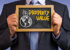 Desenho da mão do conceito da propriedade pelo homem de negócios imagens de stock royalty free