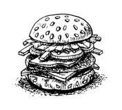 Desenho da mão do Hamburger no fundo-vetor branco Foto de Stock
