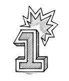 Desenho da mão do número um Imagem de Stock Royalty Free