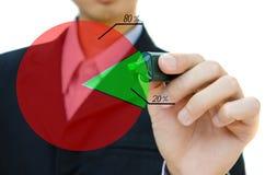 Desenho da mão do negócio que mostra o gráfico. Imagens de Stock Royalty Free
