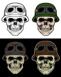 Desenho da mão do soldado do crânio com cor de 4 variações Fotos de Stock Royalty Free
