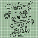 Desenho da mão dos desenhos animados de volta à escola Imagens de Stock Royalty Free
