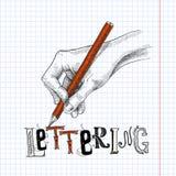 Desenho da mão no papel ilustração do vetor