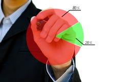Desenho da mão que mostra o gráfico Foto de Stock