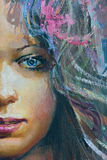 Desenho da menina, fragmento, pintura Foto de Stock Royalty Free